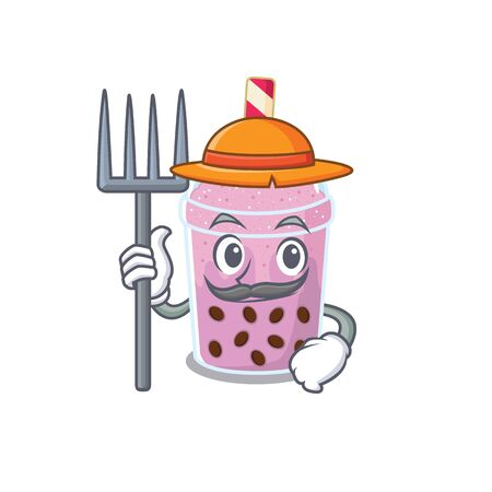 Cartoon character design of taro bubble tea as a Farmer with hat and pitchfork. Vector illustration Illustration