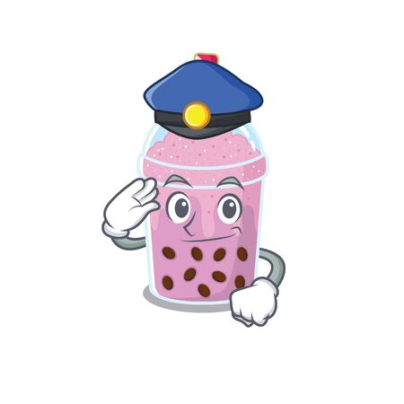 Police officer mascot design of taro bubble tea wearing a hat. Vector illustration