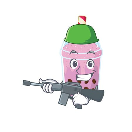 A cartoon picture of taro bubble tea in Army style with machine gun. Vector illustration