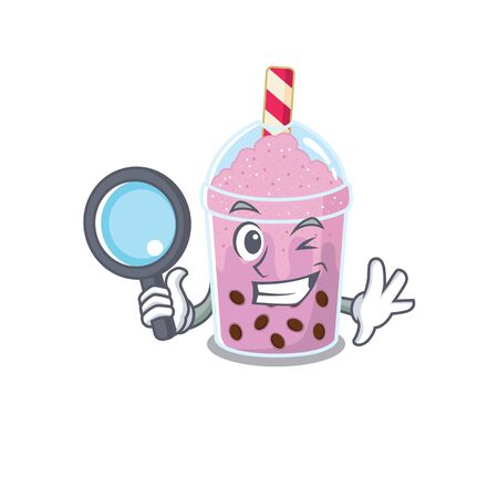 Smart Detective of taro bubble tea mascot design style with tools. Vector illustration Illustration