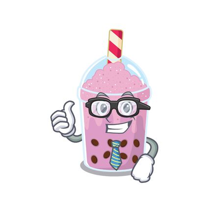 An elegant taro bubble tea Businessman mascot design wearing glasses and tie. Vector illustration Illustration