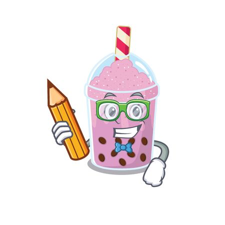 A brainy student taro bubble tea cartoon character with pencil and glasses. Vector illustration