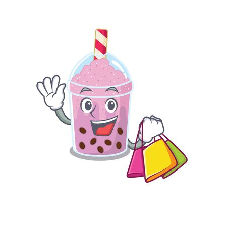 Rich and famous taro bubble tea cartoon character holding shopping bags. Vector illustration
