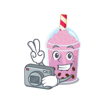 taro bubble tea mascot design as a professional photographer working with camera. Vector illustration