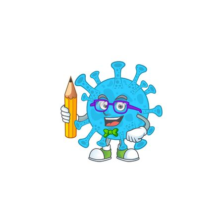 Coronavirus backteria student cartoon character studying with pencil. Vector illustration