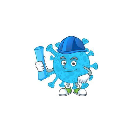 Talented Architect coronavirus backteria cartoon design style having blue prints. Vector illustration Illustration
