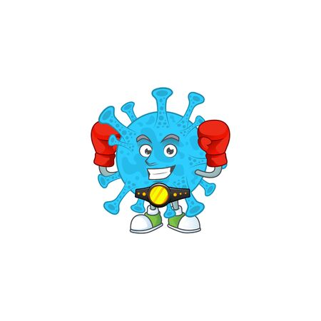 A sporty coronavirus backteria boxing athlete cartoon mascot design style