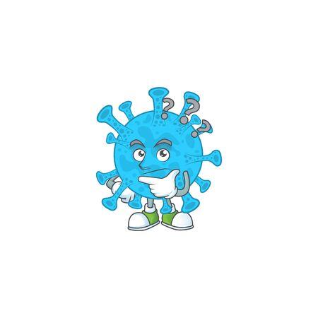 Coronavirus backteria mascot design concept having confuse gesture