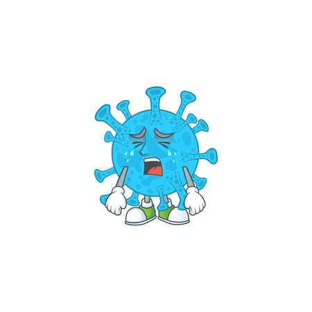 A weeping coronavirus backteria cartoon character concept Illustration