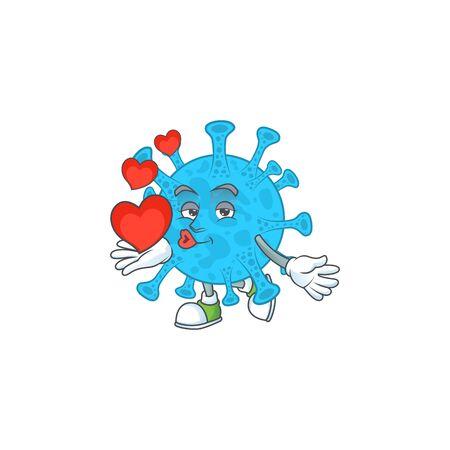 An adorable cartoon design of coronavirus backteria holding heart