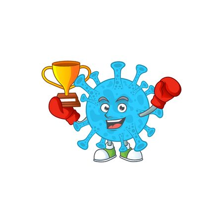 Proudly face of boxing winner coronavirus backteria presented in cartoon character design 向量圖像