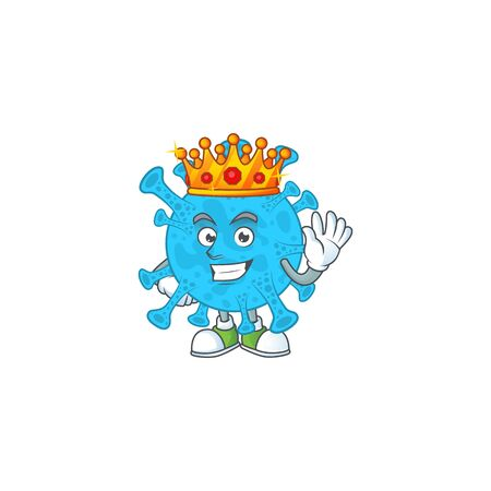 The Charismatic King of coronavirus backteria cartoon character design wearing gold crown Vektoros illusztráció