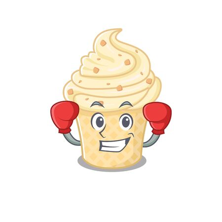 A sporty boxing athlete mascot design of vanilla ice cream with red boxing gloves. Vector illustration