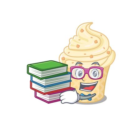 A diligent student in vanilla ice cream mascot design concept with books. Vector illustration Ilustração