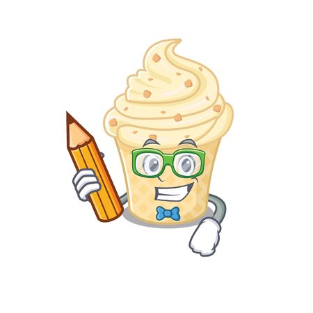 A brainy student vanilla ice cream cartoon character with pencil and glasses. Vector illustration