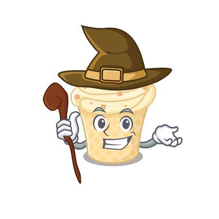 Vanilla ice cream sneaky and tricky witch cartoon character. Vector illustration