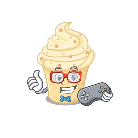 Mascot design concept of vanilla ice cream gamer using controller. Vector illustration Ilustração