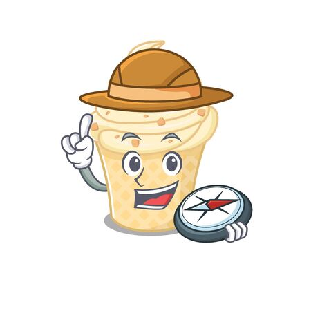 mascot design concept of vanilla ice cream explorer with a compass. Vector illustration Illusztráció