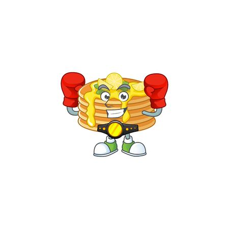 A sporty lemon cream pancake boxing athlete cartoon mascot design style
