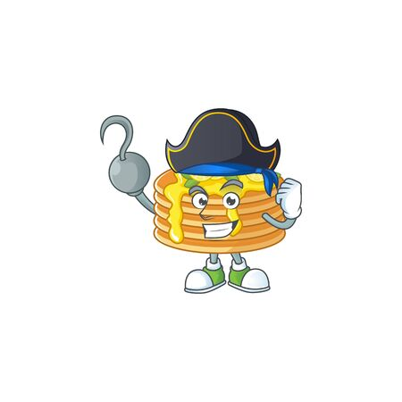 Cool pirate of lemon cream pancake cartoon design style with one hook hand