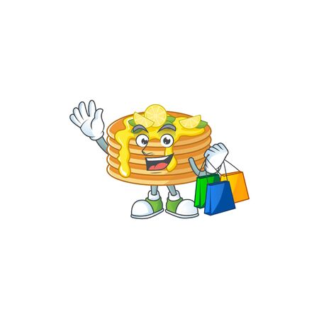 cartoon character concept of rich lemon cream pancake with shopping bags Ilustracja