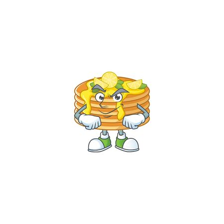 Lemon cream pancake mascot design style with grinning face