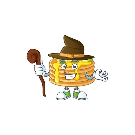 Cute and sneaky Witch lemon cream pancake cartoon design style Ilustracja