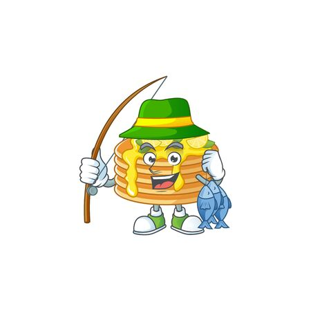 A Picture of lemon cream pancake fisher mascot design catch a fish