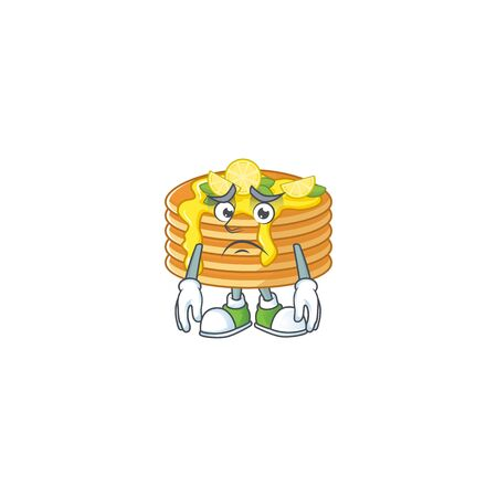 Cartoon picture of lemon cream pancake with worried face