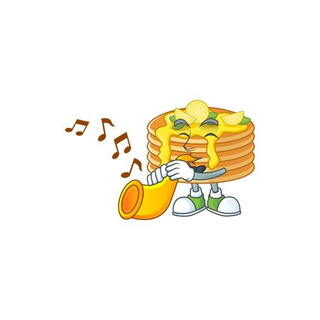 A brilliant musician of lemon cream pancake cartoon character playing a trumpet