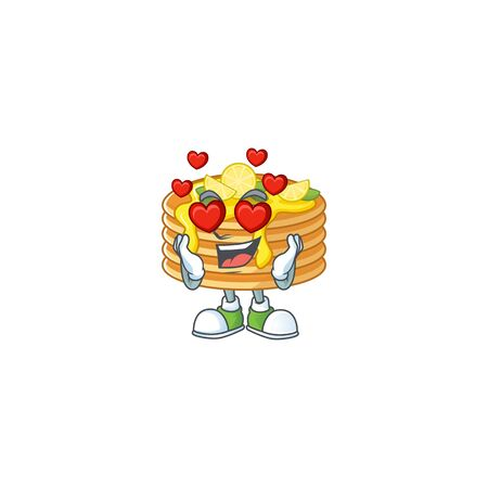 Charming lemon cream pancake cartoon character with a falling in love face