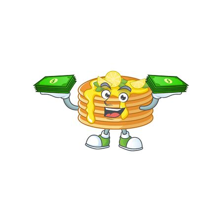 A cheerful lemon cream pancake mascot design with some money on hands