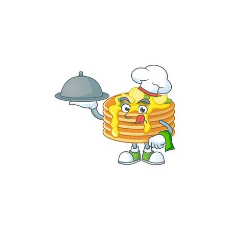 A lemon cream pancake chef cartoon design with hat and tray