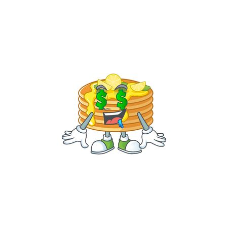 mascot character style of rich lemon cream pancake with money eyes