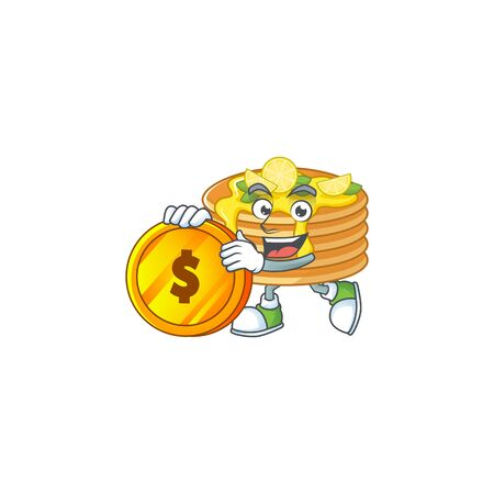 Lemon cream pancake rich cartoon character have big gold coin