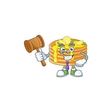 Charismatic Judge lemon cream pancake cartoon character design with glasses