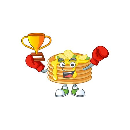 Proudly face of boxing winner lemon cream pancake presented in cartoon character design