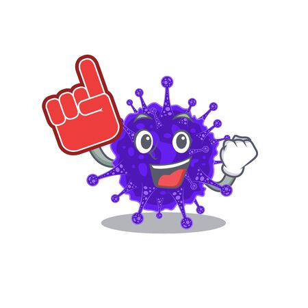 Nidovirales presented in cartoon character design with Foam finger