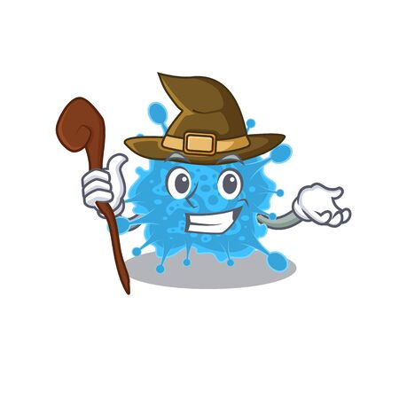 Andecovirus sneaky and tricky witch cartoon character Illustration