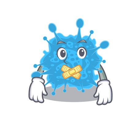 Andecovirus cartoon character style with mysterious silent gesture