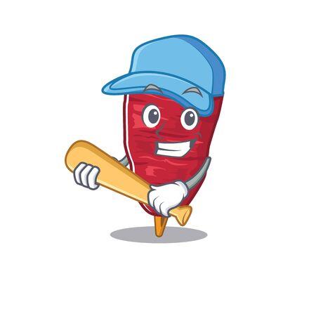Picture of doner kebab cartoon character playing baseball