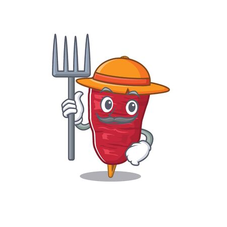 Cartoon character design of doner kebab as a Farmer with hat and pitchfork