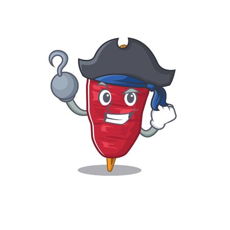 Doner kebab cartoon design style as a Pirate with hook hand and a hat