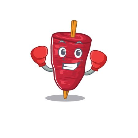 A sporty boxing athlete mascot design of doner kebab with red boxing gloves