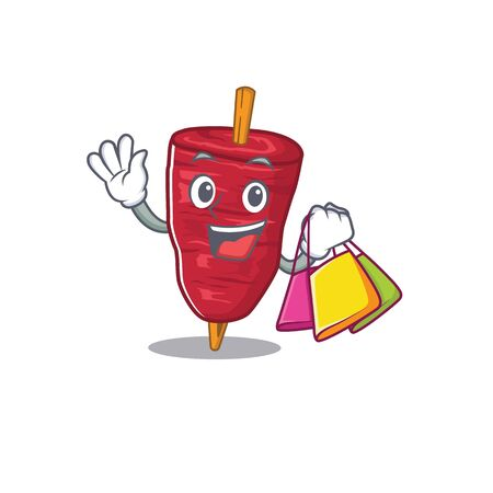 Rich and famous doner kebab cartoon character holding shopping bags Stock Illustratie