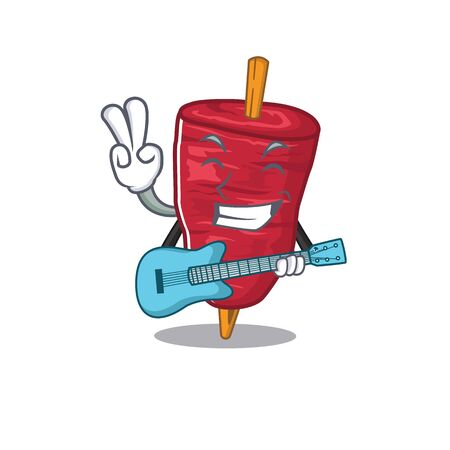 Talented musician of doner kebab cartoon design playing a guitar