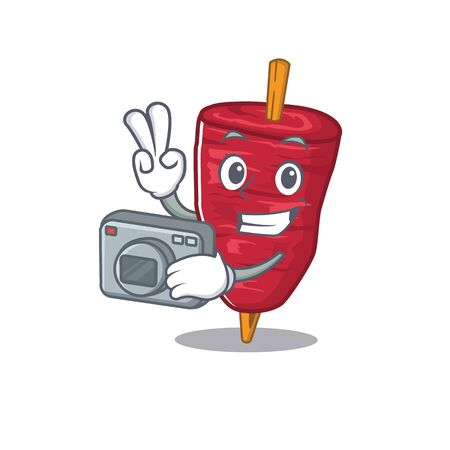 Doner kebab mascot design as a professional photographer working with camera