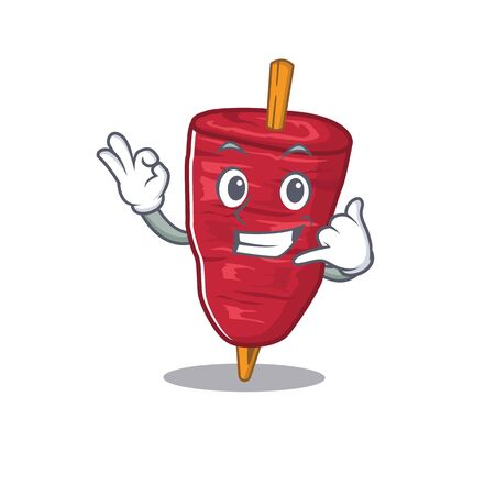 Cartoon design of doner kebab with call me funny gesture Stock Illustratie