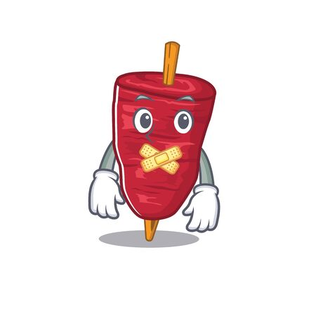Doner kebab cartoon character style with mysterious silent gesture