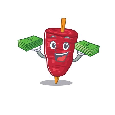 A wealthy doner kebab cartoon character having money on hands